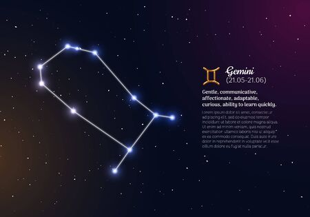Gemini zodiacal constellation with bright stars