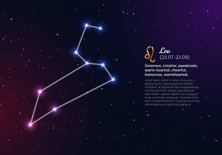 Leo zodiacal constellation with bright stars