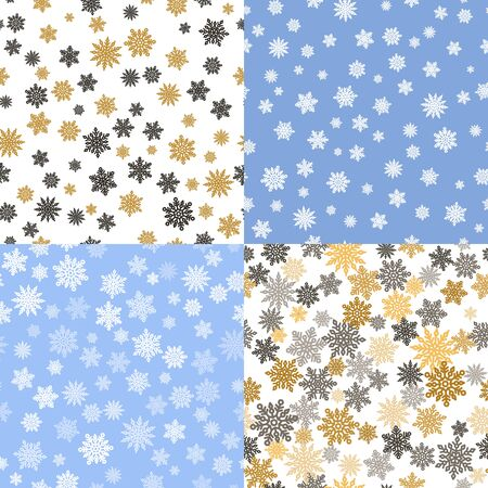 Christmas seamless patterns set with snowflakes