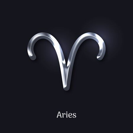 Aries silver metal zodiac sign Ilustrace