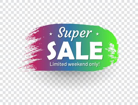 Super sale, limited weekend only banner. Sale tag in shape of paintbrush stroke. Flat gradient design with shadow isolated on transparent background. Commercial advertisement and holiday shopping Ilustrace