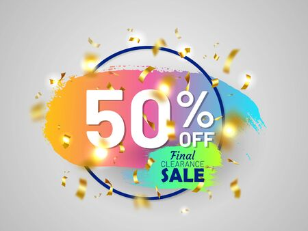 Final clearance sale tag with round frame and gold festive confetti and paintbrush stroke. 50 percent off banner. Bright colorful gradient design. Holiday shopping and weekend discount proposition. Reklamní fotografie - 131909115