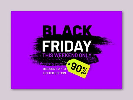 Black Friday sale flyer. Discount up to 90 percent tag in shape of paintbrush stroke. Limited edition. Promotion and marketing campaign. Seasonal sale announcement template with shop now button
