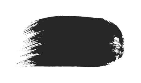 Black paintbrush stroke isolated on white background. Abstract painted object. Dirty texture watercolor brush blot. Grungy stain frame for text message. Artistic hand drawn ink graphic element.