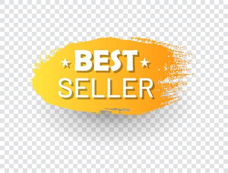 Best seller label in shape of paintbrush stroke