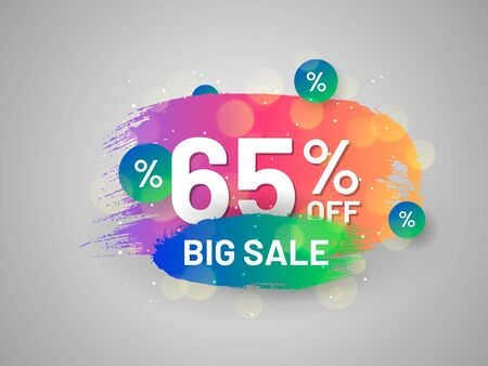 Big sale promo sticker with paintbrush strokes. 65 percent off banner. Bright colorful gradient design. Commercial event advertisement and holiday shopping. Weekend discount proposition template.