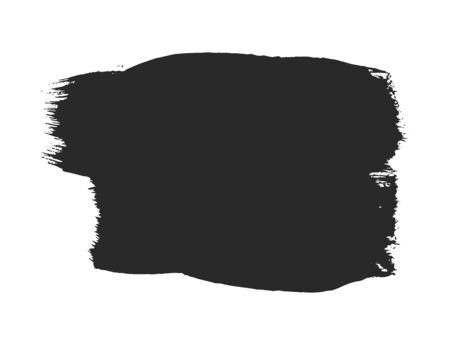 Black paintbrush stroke isolated on white background. Abstract painted object. Dirty texture watercolor brush blot. Grungy stain frame for text message. Universal hand drawn ink graphic element. Ilustrace