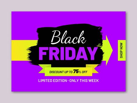 Black Friday sale modern web banner. Discount 75percent off. Retail sticker in shape of paintbrush stroke on purple background. Promotion and marketing campaign. Seasonal sale event announcement. Ilustrace