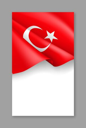 Turkey patriotic vertical web banner with realistic flag. Realistic fluttering turkish flag on white background. Turkey national day vector card with empty space. Official holiday celebration.