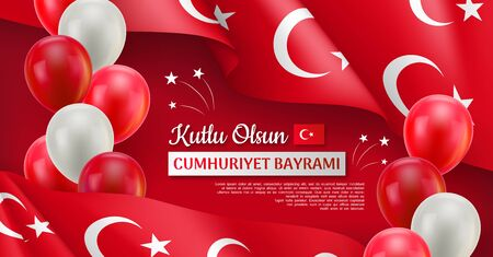 Happy turkish national day horizontal festive poster. 29 ekim Cumhuriyet Bayrami. 29 october, republic day of Turkey. Patriotic vector concept with realistic waving flag and colorful helium balloons