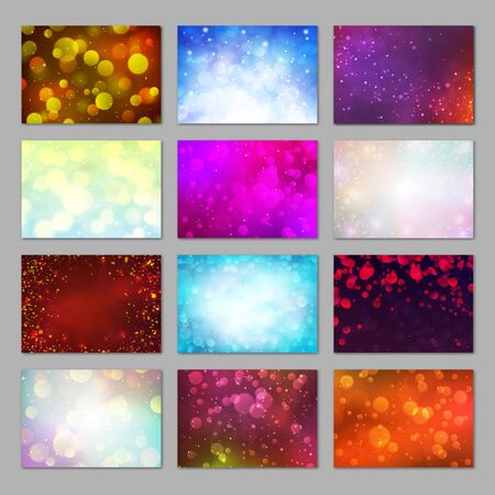 Magic colorful blurred backgrounds set with bokeh lights. Sunny day, city night, winter sky concepts. Bright glitter lights backdrops. Abstract soft light defocused wallpapers vector illustration.