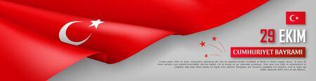 Happy turkish national day festive banner. 29 ekim Cumhuriyet Bayrami. Translation: 29 october, republic day of Turkey country. Background with realistic fluttering turkish flag vector illustration.