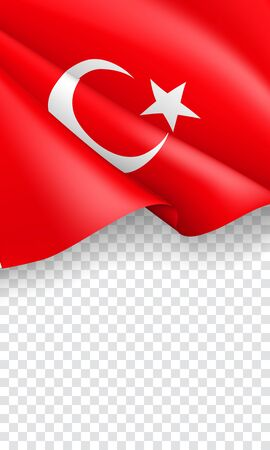 Turkey patriotic vertical web banner with 3d flag