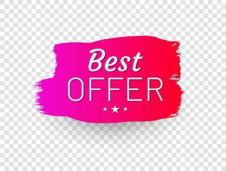 Best offer label in shape of paintbrush stroke. Stockfoto - 133363035