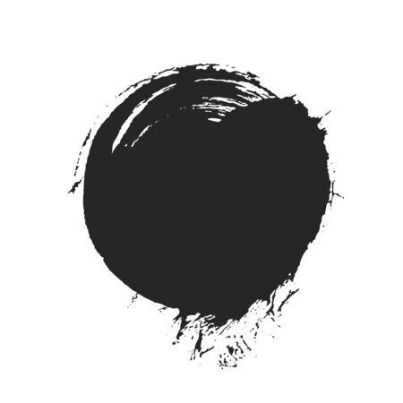 Black paintbrush round spot for design Çizim