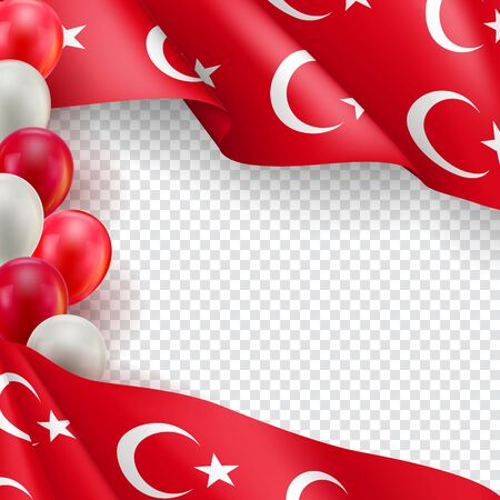 Turkey vertical flyer with copy space. Realistic fluttering flag and colorful helium balloons on transparent background. Independence and patriotism vector banner. Turkey country holiday event