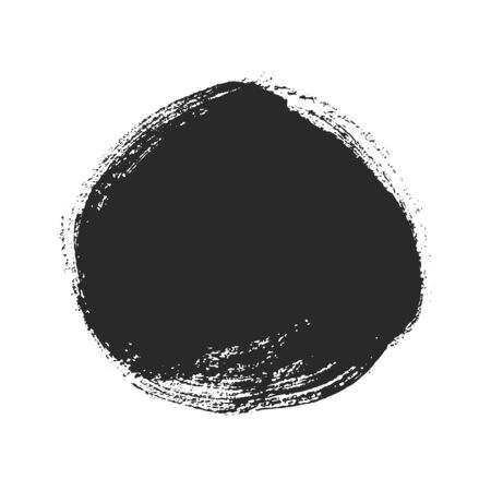 Black paintbrush round spot for creative design. Abstract painted object isolated on white background. Dirty texture watercolor brush blot. Grungy sticker template for advertising message.