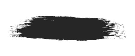 Black paint brush stroke isolated on white background. Dirty texture watercolor brush blot. Grungy stain banner for text message. Universal hand drawn graphic design element. Black ink painting.