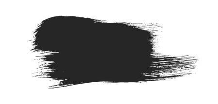 Black paintbrush stroke isolated on white Çizim