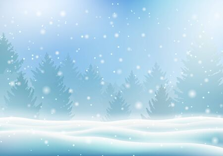 Magic winter background with christmas tree Çizim