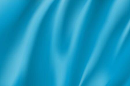 Realistic light blue silk surface for design. Color background for advertising and presentation. Blank rectangular flag template. Blue wavy satin fabric mockup. Branding object vector illustration. Иллюстрация