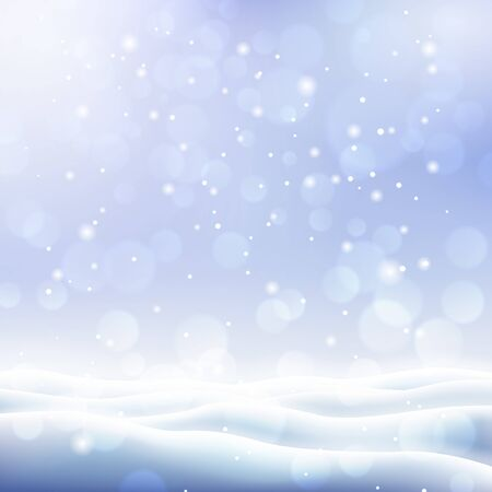 Beautiful winter background with covered snow field. Merry Christmas and Happy New Year snowy template with copy space. Realistic snowdrifts and snowfall. Winter cold weather vector illustration.