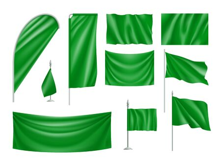 Green flags set isolated on white Ilustrace