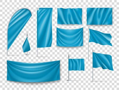Blue rectangular flags set isolated on transparent background. Realistic wavy flag on pole, expo banner, drop and desk flag mockups. Product branding, company corporate identity vector illustration. Ilustracja