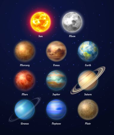 Colorful sun, moon and nine planets of solar system on deep blue space background. Galaxy discovery and exploration. Realistic planetary vector illustrations set. Astronomy and astrophysics science