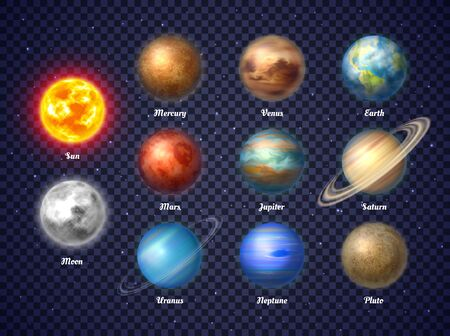 Colorful sun, moon and nine planets illustrations