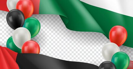 United Arab Emirates horizontal flyer with copy space. Realistic fluttering flag and colorful helium balloons on transparent background. Independence and patriotism vector banner. UAE holiday event Ilustração