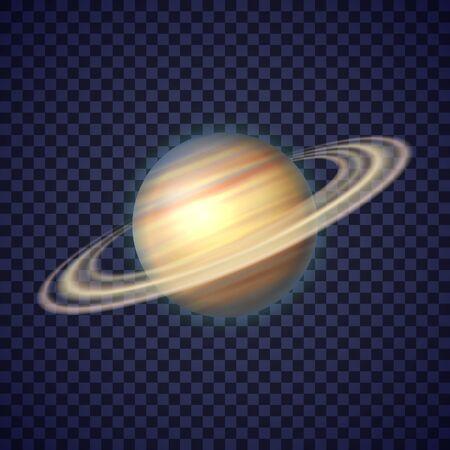 Planète Saturne avec anneaux de gaz sur fond transparent profond. Sixième planète du système solaire. Découverte et exploration de galaxies. Illustration vectorielle cosmique réaliste pour le matériel d'enseignement scolaire.