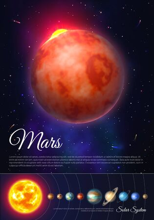 Mars planet colorful poster with solar system