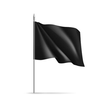 Black rectangular flag on flagpole  イラスト・ベクター素材