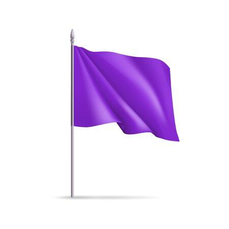 Purple rectangular flag on flagpole