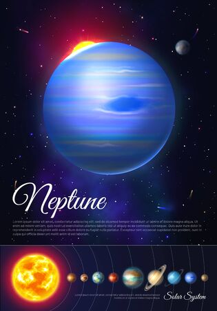 Neptune planet colorful poster with solar system