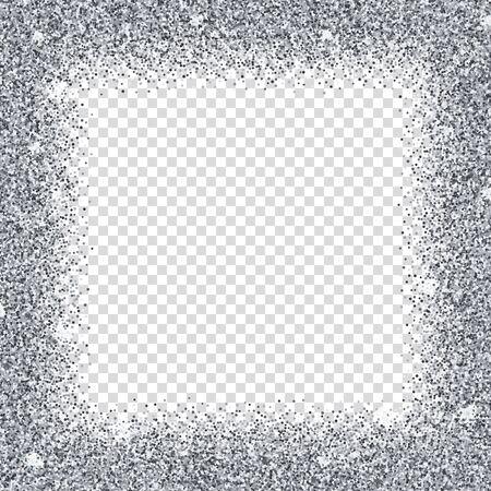 Realistic silver confetti square frame isolated on transparent background. Shiny festive serpentine bright layout. Wedding ceremony luxury decoration. Anniversary celebration vector illustration.