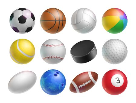 Realistic balls set for various sports games
