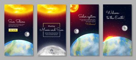Solar system vertical flyers set
