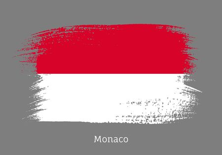 Monaco official flag in shape of paintbrush stroke. Monegasque national identity symbol. Grunge brush blot object isolated on gray background vector illustration. Monaco country patriotic stamp.