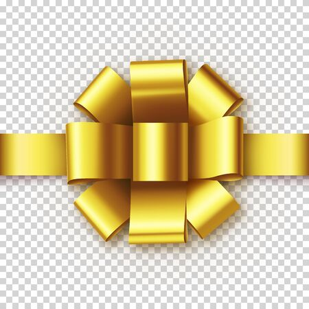 Golden gift bow from satin tape