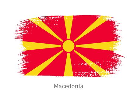 Macedonia official flag in shape of paintbrush stroke. Macedonian national identity symbol. Grunge brush blot object isolated on white background vector illustration. Macedonia country patriotic stamp