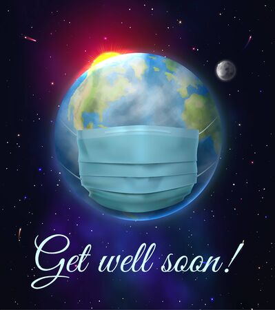 Get well soon. Realistic medical mask Stock Illustratie
