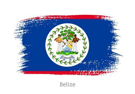 Belize official flag in shape of brush stroke Vetores