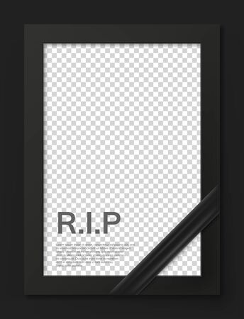 Blank mourning frame for sympathy card. Funeral photo frame mockup with black ribbon. Black memorial frame with empty place for portrait isolated vector illustration. Funeral ceremony and condolence.