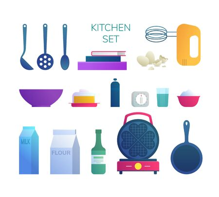 Kitchen utensils and food ingredients icons