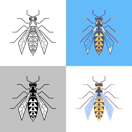 Wasp outline icons set. Hornet symbol for logo