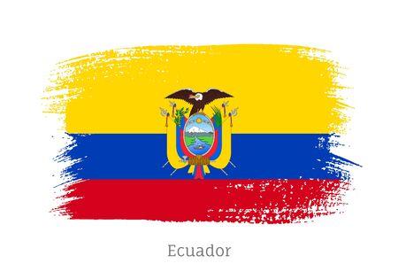 Ecuador official flag in shape of brush stroke