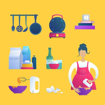 Home cooking isolated icons set. Girl in apron with blender, waffle iron, food ingredients, kitchen utensils, cookbooks and timer. Home preparing morning breakfast for family vector illustration.