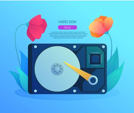 Hard disk drive web banner in cartoon style. Internal hard drive mechanism with flower decoration. Computer electronics and hardware components vector illustration. Technical assistance and support Ilustração